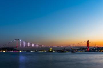 15 July Martyrs Bridge (Turkish: 15 Temmuz Sehitler Koprusu) in Istanbul, Turkey. .