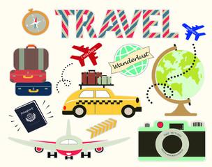 Travel wanderlust vintage clip art