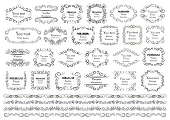 Calligraphic design elements . Decorative swirls or scrolls, vintage frames , flourishes, labels and dividers. Retro vector illustration