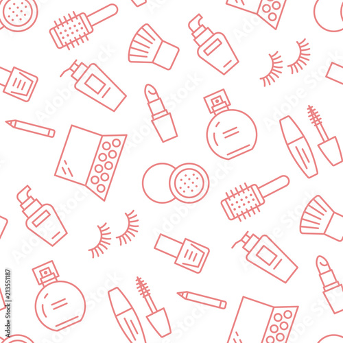 Makeup Beauty Care Red Seamless Pattern With Flat Line Icons