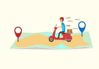 Pizza delivery service. The guy on the scooter delivers the pizza. The boy delivers food fast and free of charge on a scooter. vector illustration