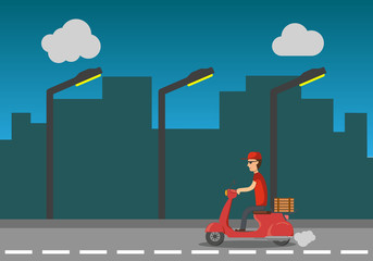 Pizza delivery service at night. The guy on a scoop delivers a pizza. The boy quickly and free of charge delivers food on a scooter. vector illustration