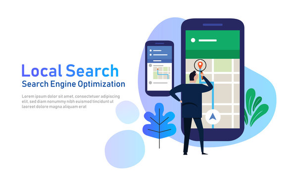 local search marketing ecommerce. concept of mobile location SEO search engine optimization. large phone with business man holding magnifying glass. vector illustration