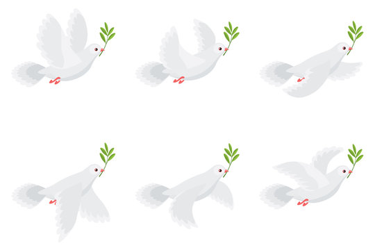 Illustration of flying dove holding olive branch animation sprite sheet isolated on white background