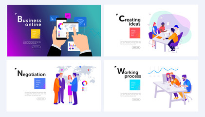 set of modern vector illustrations in isometrics for design: workflow, creation of ideas, online business, leaders meeting
