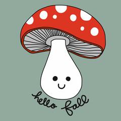 Mushroom smile cartoon vector hello fall illustration