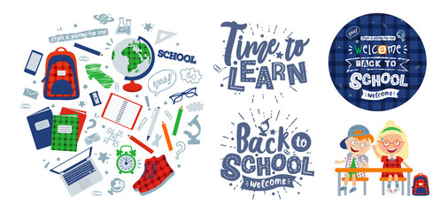 """vector set of illustrations on the theme """"back to school"""": characters schoolchildren, poster, lettering and objects for school: backpack, globe, sneakers, microscope, textbooks, alarm clock, notepad,"""