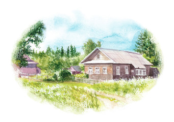 watercolor illustration of a village in summer, rustic houses surrounded by green trees