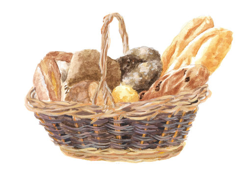 watercolor illustration of a wicker basket with bread, a loaf and pastries, drawing by hand of wheat products