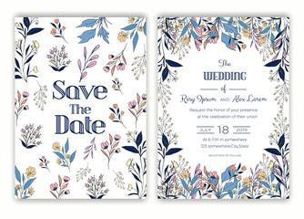 Floral hand drawn frame for a wedding invitation
