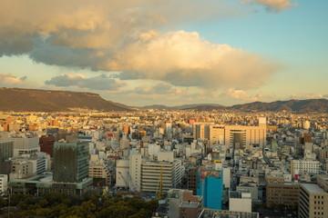 Cityscape of Takamatsu city in the twilight,Kagawa,Shikoku,Japan