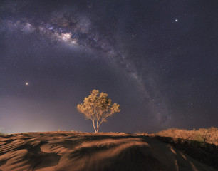 Panorama of Milky Way Galaxy with the background of night sky and stars, in the desert.