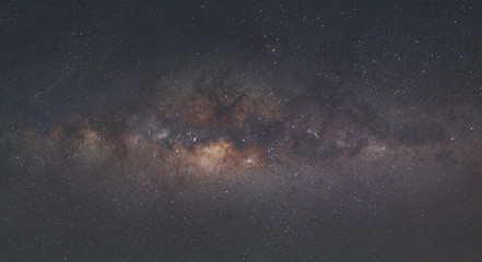 Autocollant pour porte Univers Panorama of Milky Way Galaxy with the background of night sky and stars.