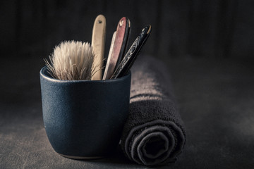 Unique tools for shave with grey soap, razor and brush