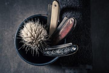 Antique shaving set with grey soap, razor and brush