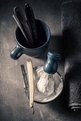 Unique shaving set with grey soap, razor and brush