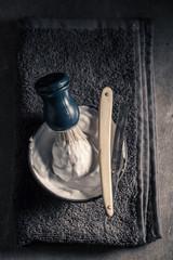 Antique shaving set with brush, razor, soap