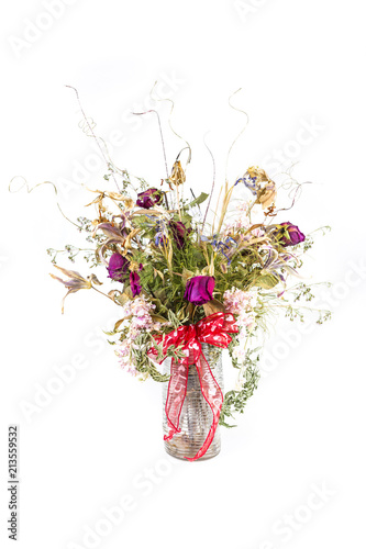 Dead And Dried Out Gift Bouquet Of Flowers In Vase Stock Photo And