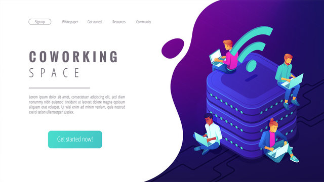 Isometric coworking space landing page. People with laptops working in the same place and network. Shared workplace, office space concept on ultraviolet background. Vector 3d illustration.