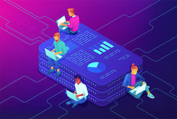 Marketing strategy isometric concept. Long-term planning, goal achieving, strategic management, market share analysis, digital analysts teamwork on ultraviolet background. Vector 3d illustration.