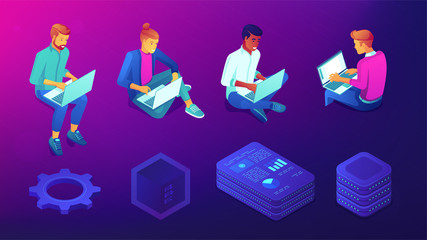 Isometric developers, programmers and designers with laptops set. Blockchain, IT technology and coding symbols on ultraviolet background. Vector 3d illustrations set.