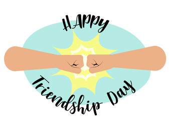"Fist bump, Happy Friendship Day concept with masculine fraternal greeting. vector illustration, fist bump and inscription "" Happy friendship day "" Flat style"