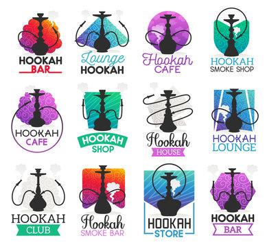 Hookah lounge bar or smoke shop icons, vector