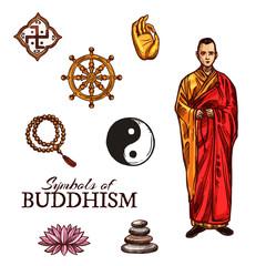 Buddhist monk and buddhism religion holy symbols