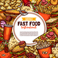Fast food restaurant menu sketch promo poster
