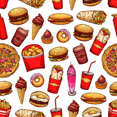 Fast food snacks and desserts seamless pattern