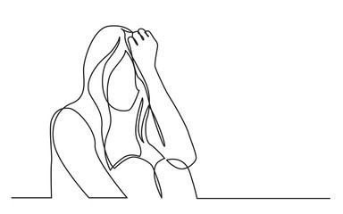continuous line drawing of addicted woman in despair