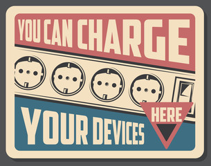 Charge device retro poster with sockets