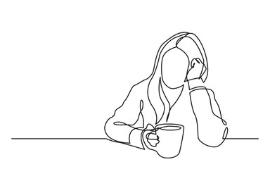 continuous line drawing of sitting dreaming woman with cup of tea