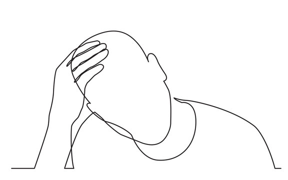 continuous line drawing of man in need