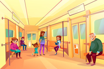 People in subway metro vector illustration of pregnant black Afro American mother with daughter, old woman and man in train. Boy listening music or watching video in smartphone and girl reading book
