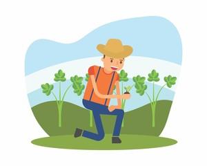 cute farmer farming harvest farms planting agriculture agriculturist tiller cartoon character