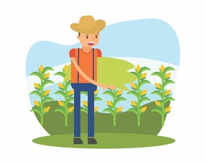 cute farmer farming harvest farms planting agriculture agriculturist tiller corn maize cartoon character