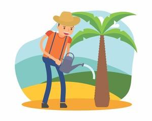 cute farmer farming harvest farms planting agriculture agriculturist tiller coconut cartoon character