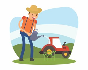 cute farmer farming harvest farms planting agriculture agriculturist tiller watering cartoon character