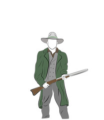 man is a cowboy. stands with a gun. vector illustration.