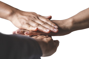 The hands of business people are willing to invest in business together in the office isolated on white background.
