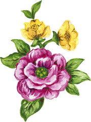 watercolor gouache elegant vintage yellow and purple or violet flower
