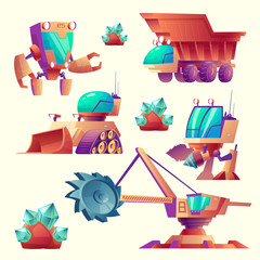 Vector cartoon set of mining machinery for planets, futuristic devices. Space exploration with multiple-flighted screw, robot digger. Mechanic crane, truck for minerals. Alien industrial technology