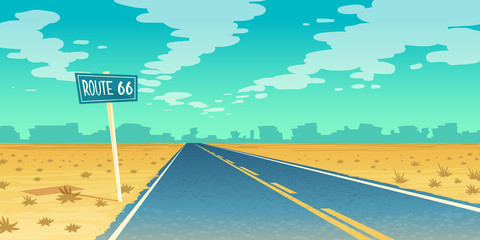 Vector desert landscape with empty asphalt way to canyon, wasteland. Route 66, path with road sign. Voyage background with clouds.