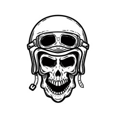 Biker skull in helmet isolated on white background. Design element for poster, card, banner, t shirt.