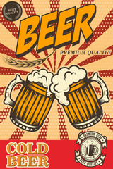 Beer poster in retro style. Beer objects on grunge background. Design element for card, flyer, banner, print, menu.