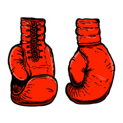 Hand drawn illustration of boxing gloves. Design element for poster, card, t shirt, emblem, sign.
