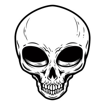 Illustration of alien skull isolated on white background. Design element for poster, card, banner, t shirt.