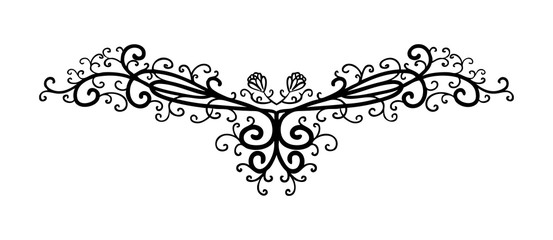 vector design element, beautiful fancy curls and swirls divider or underline design, black ink lines. Can be placed on any color. Wedding design element.