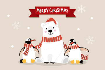 Merry Christmas greeting card with cute polar bear and penguins with long red scarf. Arctic animal in winter costume cartoon character vector. Snow and snowflake fall down background.